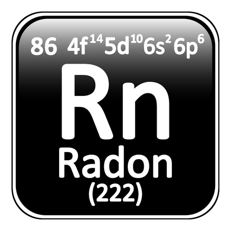 radon: Periodic table element radon icon on white background. Vector illustration.