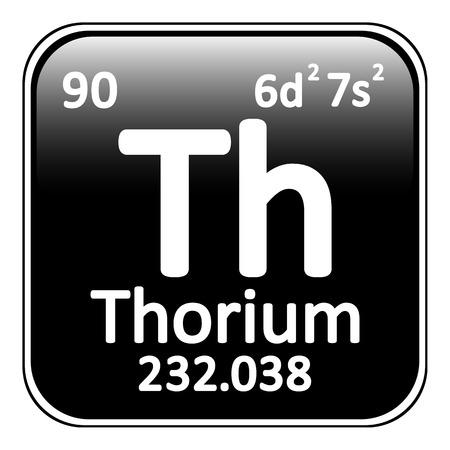 thorium: Periodic table element thorium icon on white background. Vector illustration. Illustration