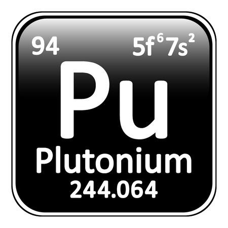 plutonium: Periodic table element plutonium icon on white background. Vector illustration.