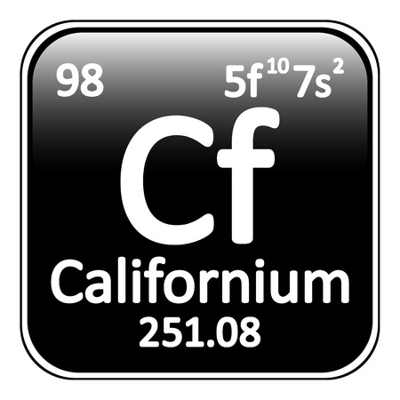 actinides: Periodic table element californium icon on white background. Vector illustration. Illustration