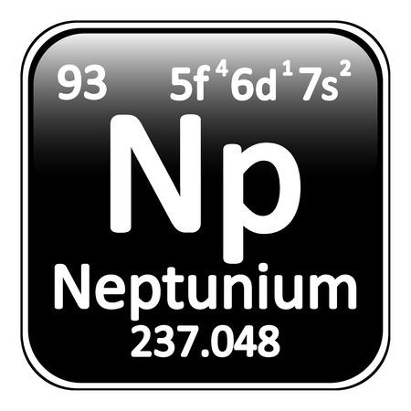 periodic table: Periodic table element neptunium icon on white background. Vector illustration.