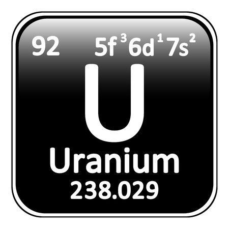 uranium: Periodic table element uranium icon on white background. Vector illustration. Illustration