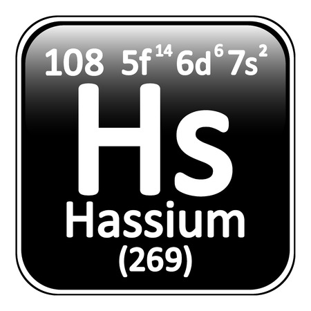 periodic table: Periodic table element hassium icon on white background. Vector illustration.
