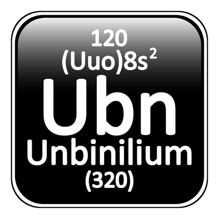 periodic table: Periodic table element unbinilium icon on white background. Vector illustration.