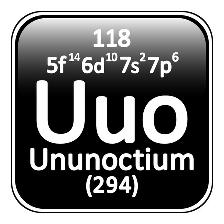 actinides: Periodic table element ununoctium icon on white background. Vector illustration.