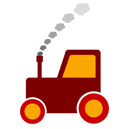 plow: Tractor icon on white background. Vector illustration.