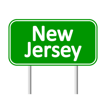 new jersey: New Jersey green road sign isolated on white background