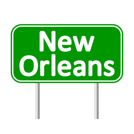 new orleans: New Orleans green road sign isolated on white background. Illustration