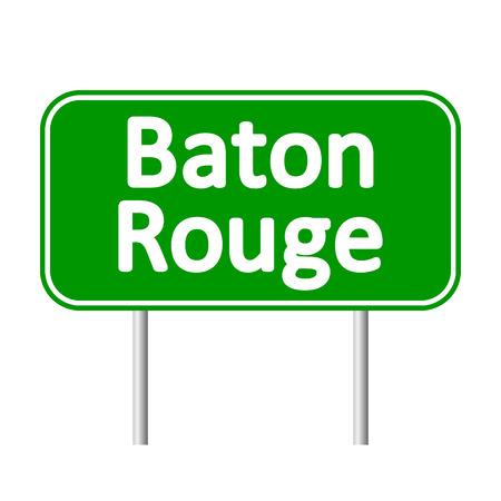 baton rouge: Baton Rouge green road sign isolated on white background. Illustration