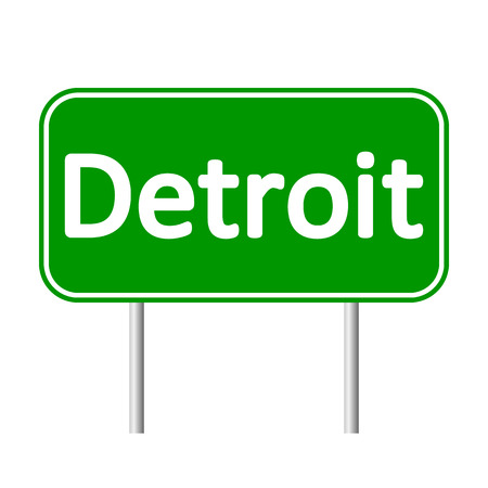 detroit: Detroit green road sign isolated on white background.