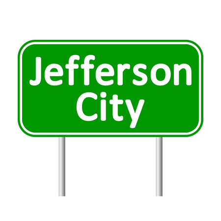 jefferson: Jefferson City green road sign isolated on white background.