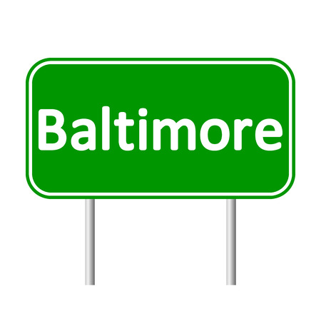 baltimore: Baltimore green road sign isolated on white background