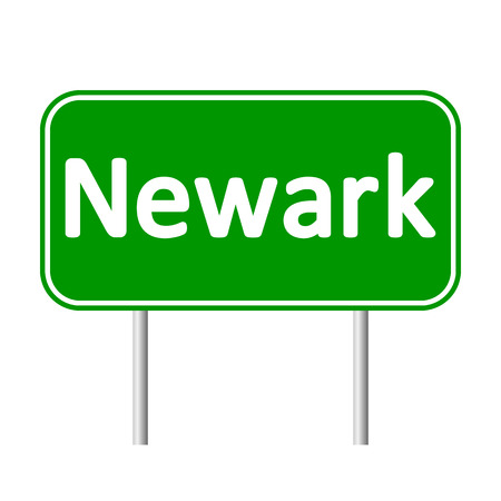 jersey city: Newark green road sign isolated on white background