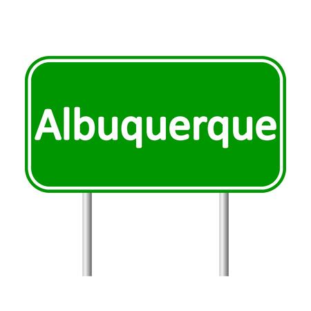 albuquerque: Albuquerque green road sign isolated on white background.