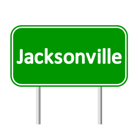 jacksonville: Jacksonville green road sign isolated on white background.