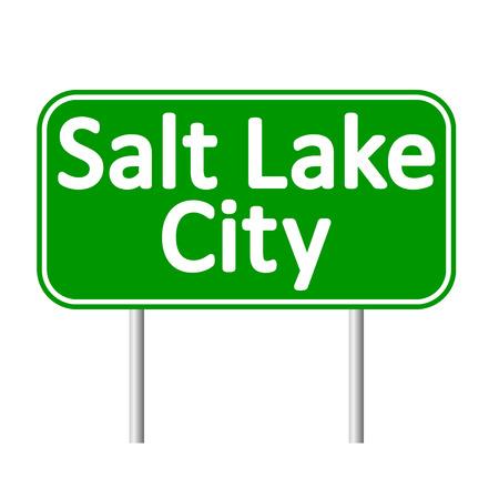 salt lake city: Salt Lake City green road sign isolated on white background Illustration