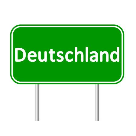 deutschland: Deutschland road sign isolated on white background.