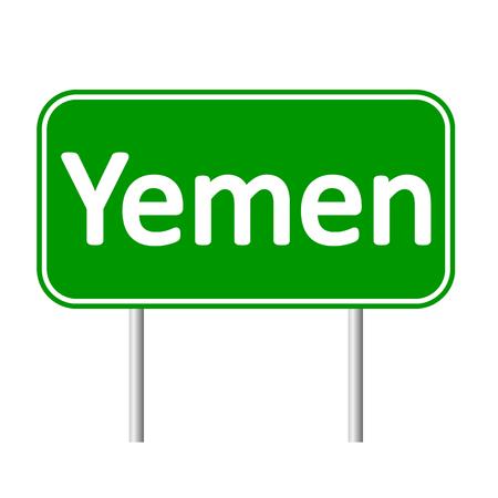 yemen: Yemen road sign isolated on white background. Illustration
