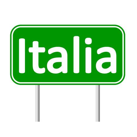 italia: Italia road sign isolated on white background. Illustration