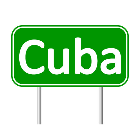 antilles: Cuba road sign isolated on white background.
