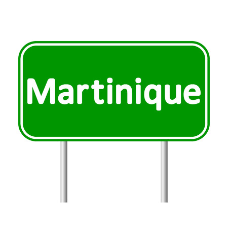 antilles: Martinique road sign isolated on white background. Illustration