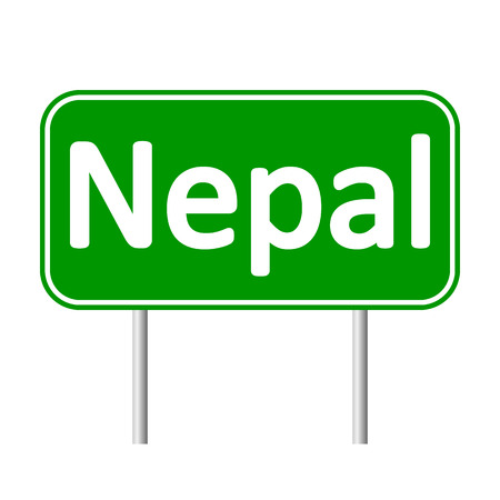 nepal: Nepal road sign isolated on white background.