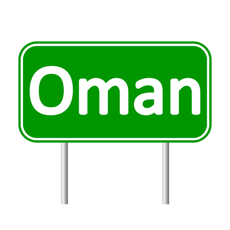 southwest asia: Oman road sign isolated on white background.