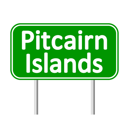 pitcairn: Pitcairn Islands road sign isolated on white background. Illustration