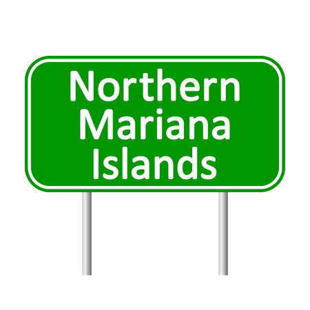mariana: Northern Mariana Islands road sign isolated on white background. Illustration