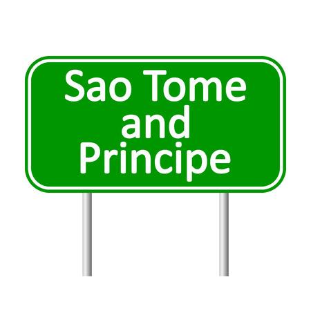 principe: Sao Tome y Principe señal de tráfico aislados sobre fondo blanco.