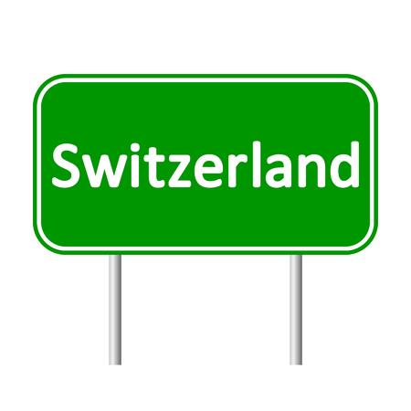 svizra: Switzerland road sign isolated on white background. Illustration