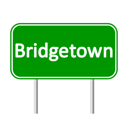 antilles: Bridgetown road sign isolated on white background.