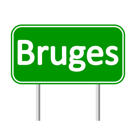 bruges: Bruges road sign isolated on white background.