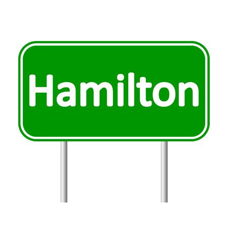 Hamilton road sign isolated on white background.