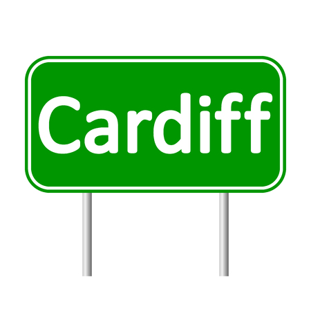 cymru: Cardiff road sign isolated on white background. Illustration