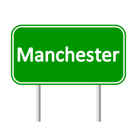 manchester: Manchester road sign isolated on white background.