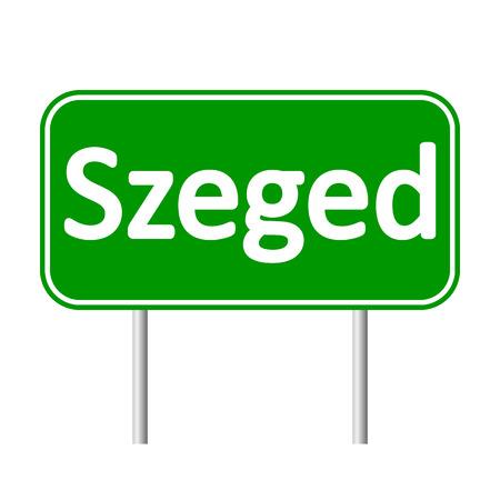 szeged: Szeged road sign isolated on white background.