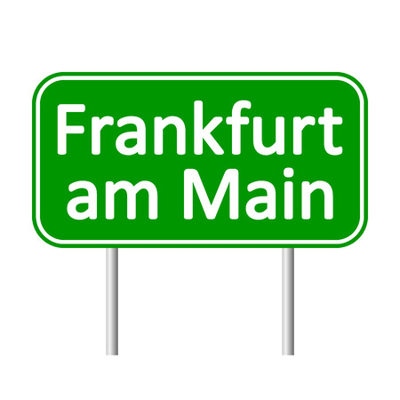 Frankfurt am Main road sign isolated on white background.