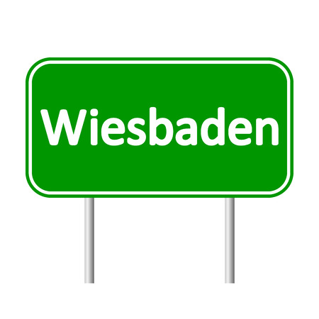 Wiesbaden road sign isolated on white background.