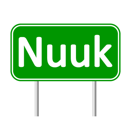 nuuk: Nuuk road sign isolated on white background.