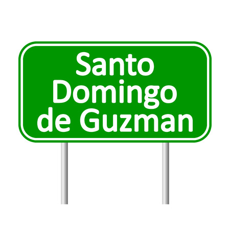 santo: Santo Domingo de Guzman road sign isolated on white background.