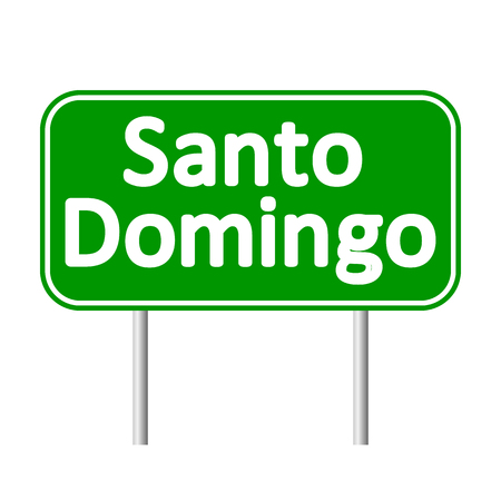santo: Santo Domingo road sign isolated on white background. Illustration