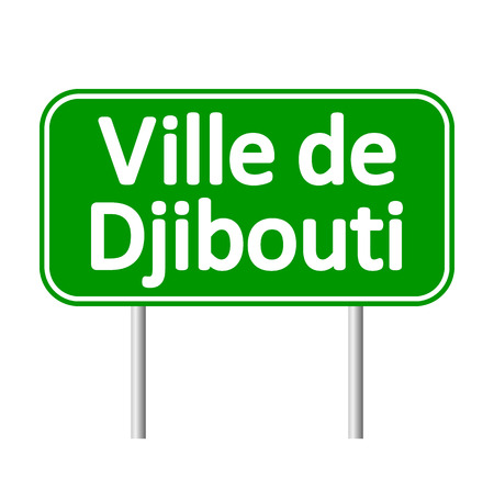 ville: Ville de Djibouti road sign isolated on white background. Illustration