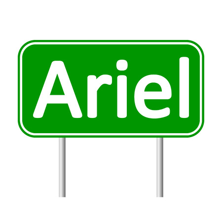 Ariel road sign isolated on white background. Illustration