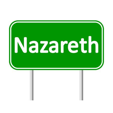 nazareth: Nazareth road sign isolated on white background.