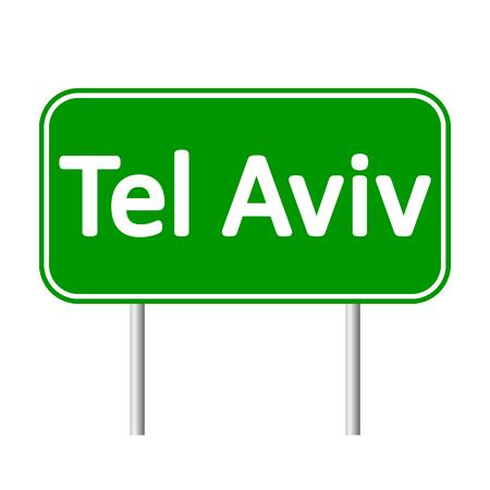 aviv: Tel Aviv road sign isolated on white background. Illustration