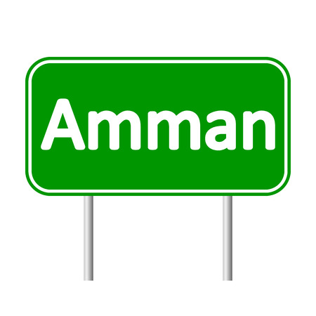 the hashemite kingdom of jordan: Amman road sign isolated on white background.