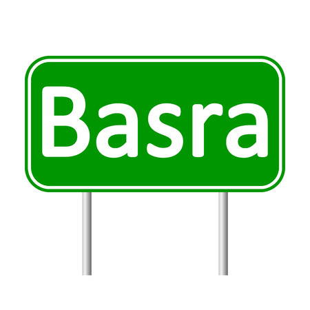 basra: Basra road sign isolated on white background.
