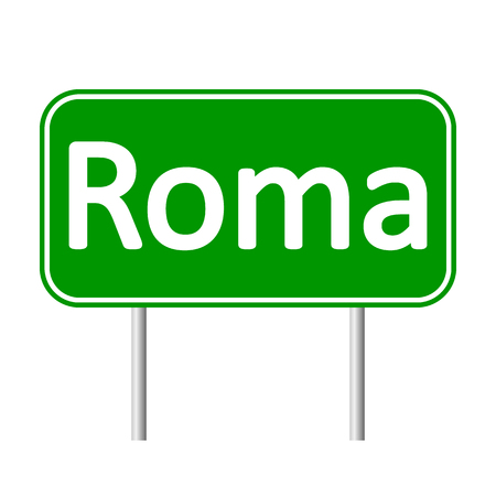 roma: Roma road sign isolated on white background.