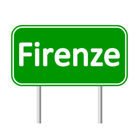 firenze: Firenze road sign isolated on white background. Illustration